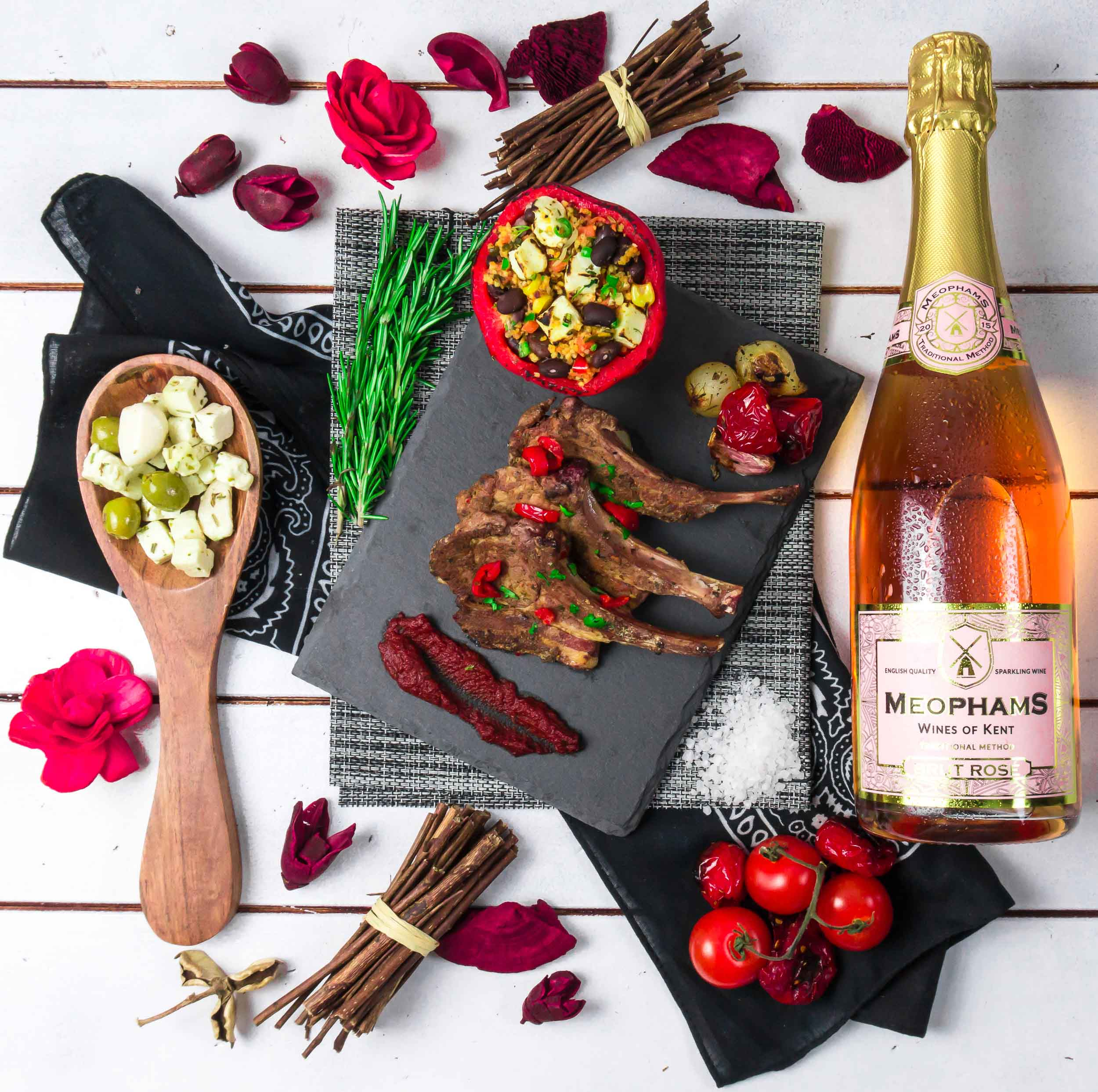 Meophams-Brut-Rose-English-Sparkling-Wine-Lamb-Cutlets-1