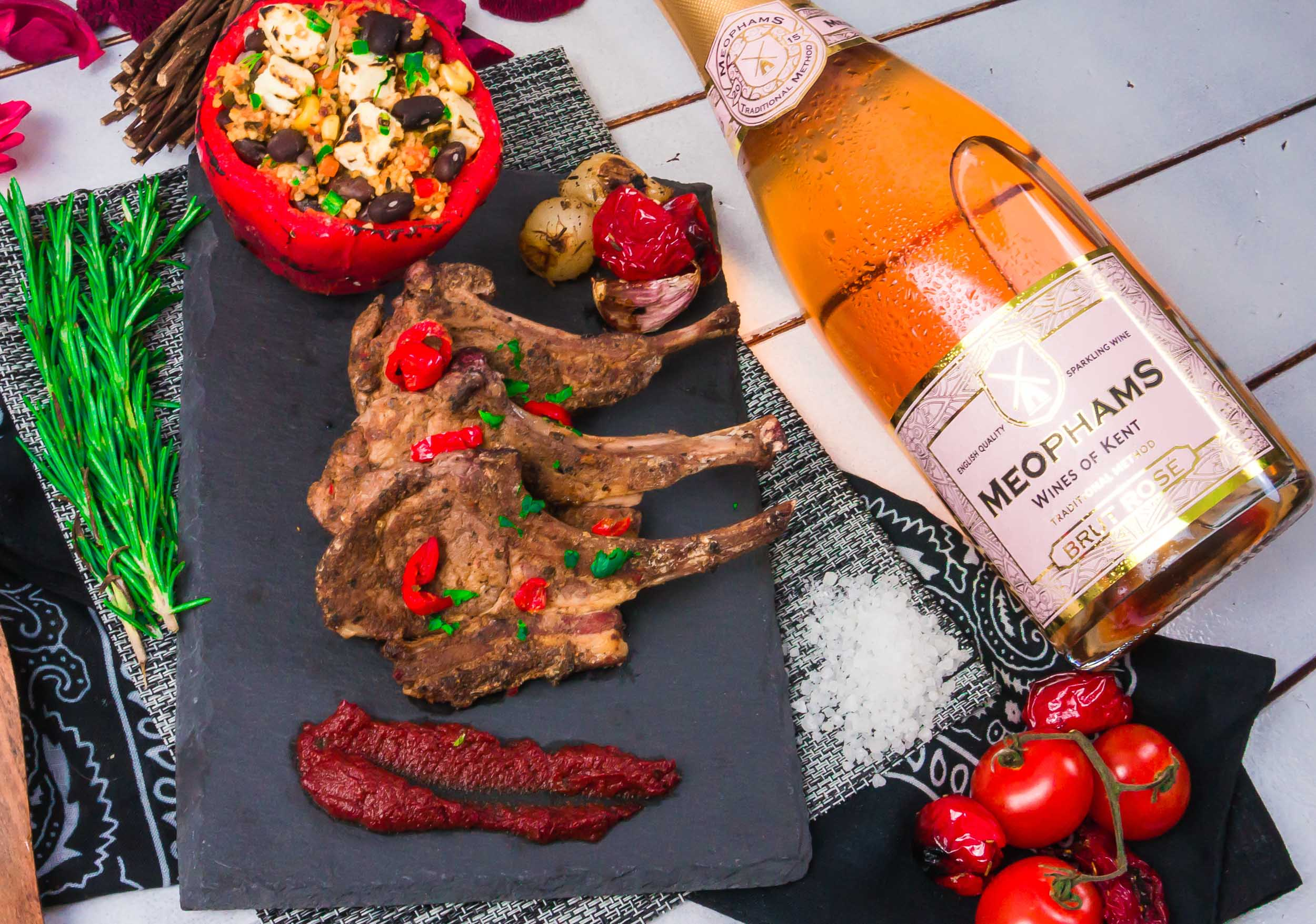 Meophams-Brut-Rose-English-Sparkling-Wine-Lamb-Cutlets-3