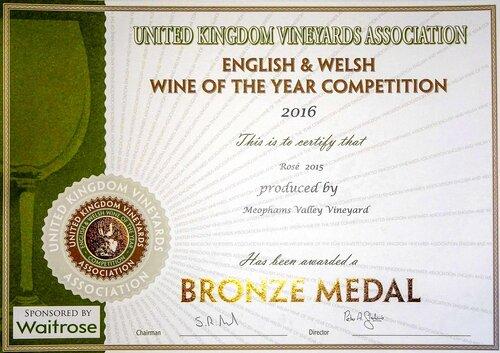 Meophams-Rose-2015-Bronze-Award-UK-Vineyard Association